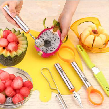 Creative Gifts Cut Fruit Carved Tools Set Fruit Knife Apple Splitters Dual Use Cut Fruit Digging Ball Spoon