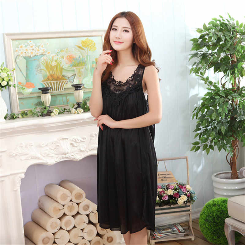 0d49bf0294f Plus Size Fashion Elegant Long Nightgown Women Sleepwear Sexy Sleep Night  Dress Nightwear Silk Chemise de