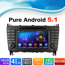 Pure Android 5.1 Autoradio Auto Radio Car DVD Player GPS Navigation System for Mercedes-Benz CLK Class W209, For Mercedes W203