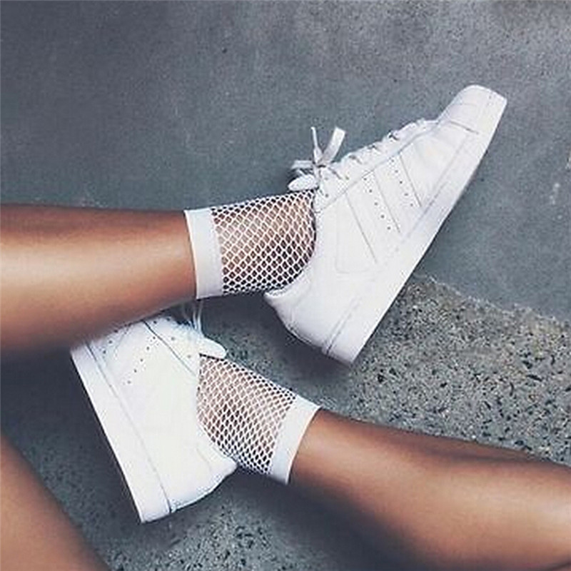 Streetwear Breathable Casual Fishnet   Socks   Women White Sexy Hollow Nets Ladies Sweet Mesh Lace   Socks   Ankle-High 1PC Fashion Hot