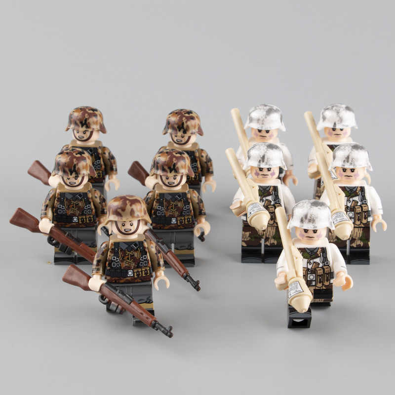 Military Minifigs Soldier Weapon Set Building Blocks WW2 German Parts Army Helmet Accessories Bricks Toys for Children Gift D089
