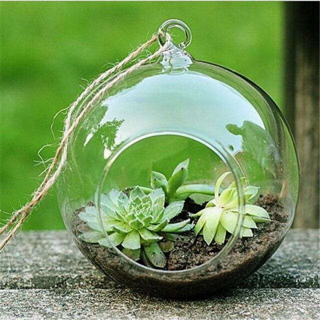 2017 New Clear Round Hanging Glass Vase Bottle Terrarium Flower