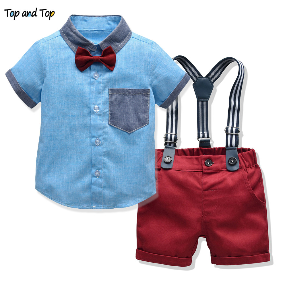Top And Top New Arrival Fashion Summer Children Boys Clothes Sets Boy Gentleman 2Pcs Clothes Suit For Wedding And Party