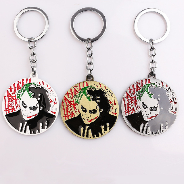 Dark Knight Batman Riddler Joker Keychain Heath Ledger Double Sided Keyring  DC Comics Marvel Key Chain Chaveiro c4a3fe686