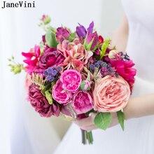 JaneVini Романтические Свадебные цветы Свадебные букеты фиолетовый розовый розы искусственный шелк цветы брошь невесты цветок Ramo Novia Boda