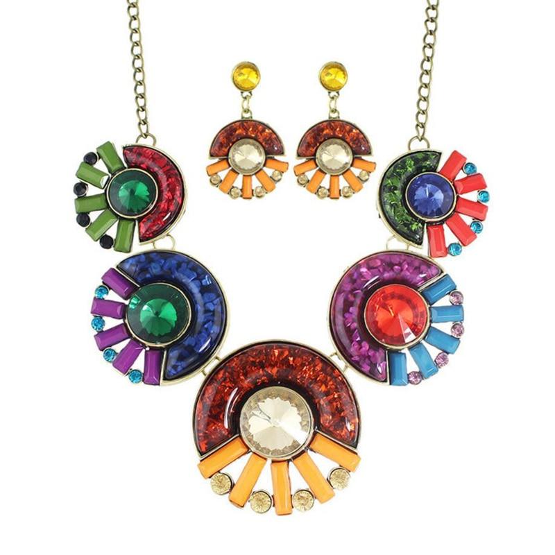 2017 de Lujo Collar Llamativo Mujeres Multicolor Resina de La Vendimia de la Joy