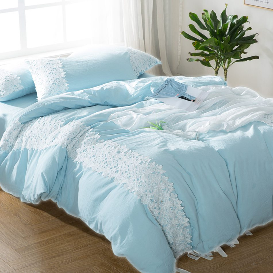 Blue and white bedding - Light Blue Solid Bedding Sets 4pcs White Flowers Lace Princess Style Bedding Set Adult Teen Bed
