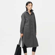 [ LYNETTE'S CHINOISERIE – Qing Chen ] Original design autumn winter women shirt type long-sleeve outerwear medium-long wool coat