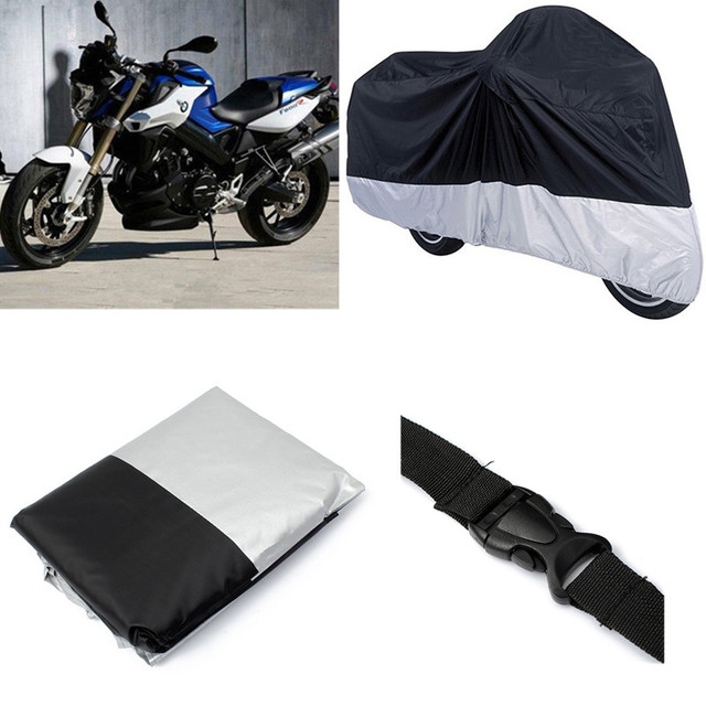 New Stylish 265x105x125cm Black Silver Motorcycle Covering PU Coating Dustproof Waterproof Outdoor Rain Bike Protective Cover