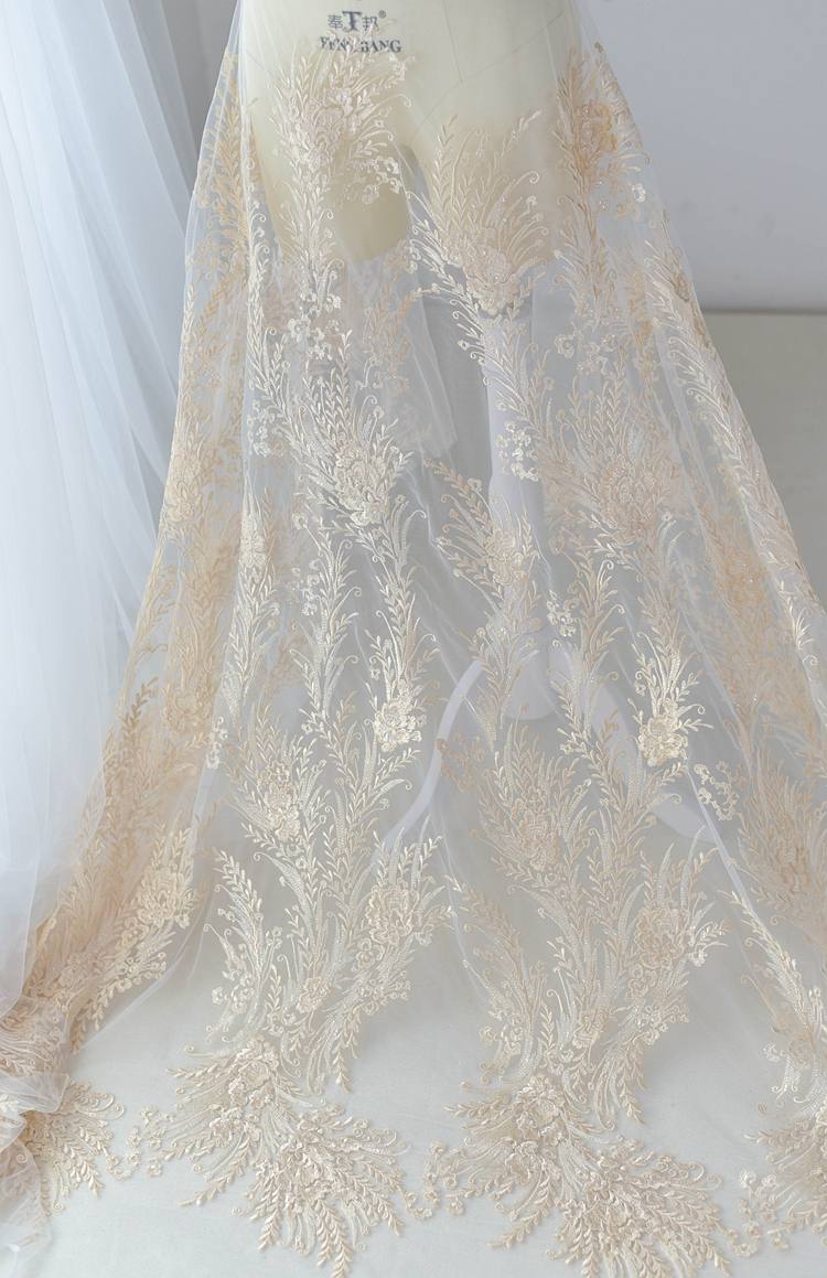 1 Yard/lot Cotton thread embroidered tulle mesh sequined lace fabric for wedding dress! 2019 April new design champagen lace!