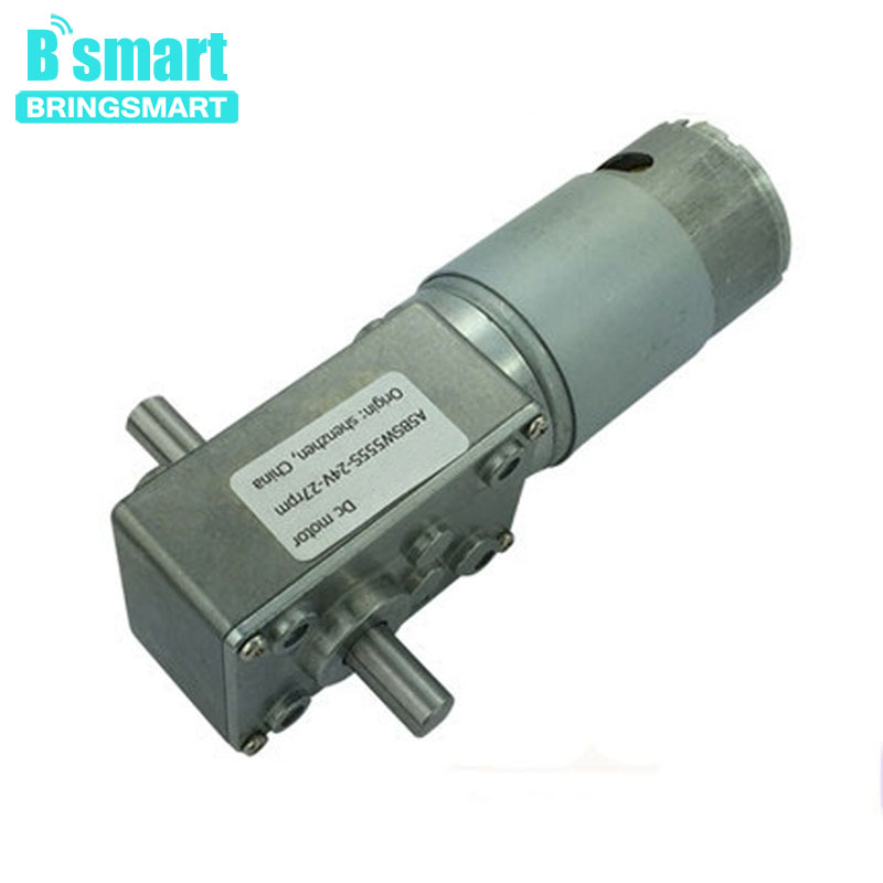 Bringsmart Wholesale A58SW-555S 6- 24v Worm Geared Motor 12v Double Shaft Reverse Motor DIY Robot Door Lock Self-lock Motor