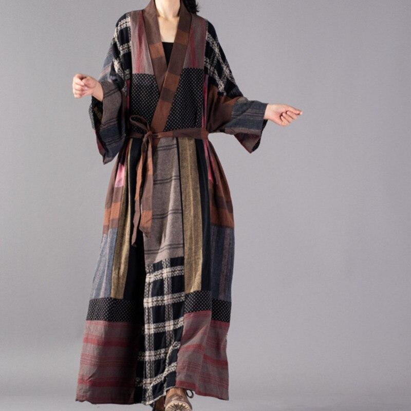 Windbreaker Woman EWQ 2019 New Autumn Winter Fashion Vintage Hit Coolor Long Sleeve V neck Split