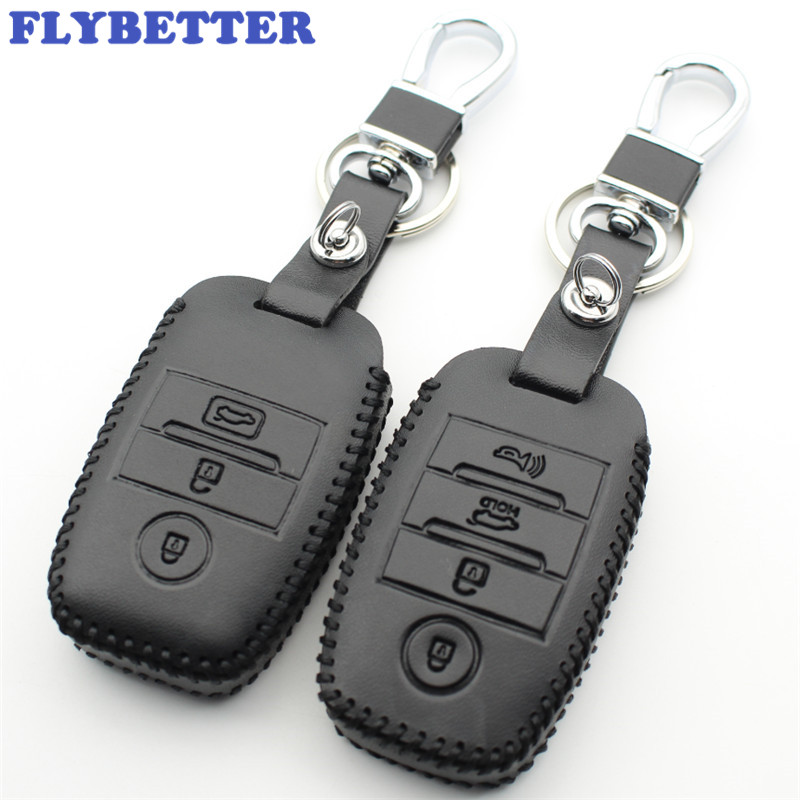 FLYBETTER Genuine Leather Remote Control Key Chain Cover Case For Kia K3/K4/K5/K3S/Forento/Rio5/Optima/Ceed Car Styling L765 flybetter genuine leather smart key case cover for kia kx3 kx5 k3s rio ceed cerato optima k5 sportage sorento car styling l72
