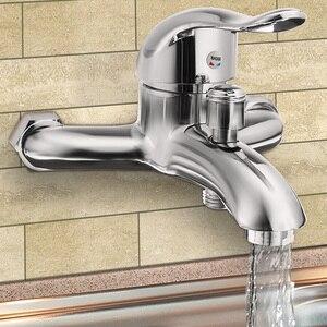 Image 1 - Xueqinクロームポリッシュウォールマウント浴室の蛇口のミキサータップ浴槽バルブシャワー蛇口シングルハンドル冷温水