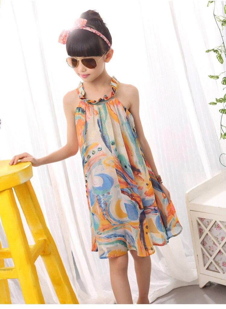 girls beach summer dress girl  flower print dresses casual sleeveless chiffon A -line loose dress children clothing new arrival.jpg