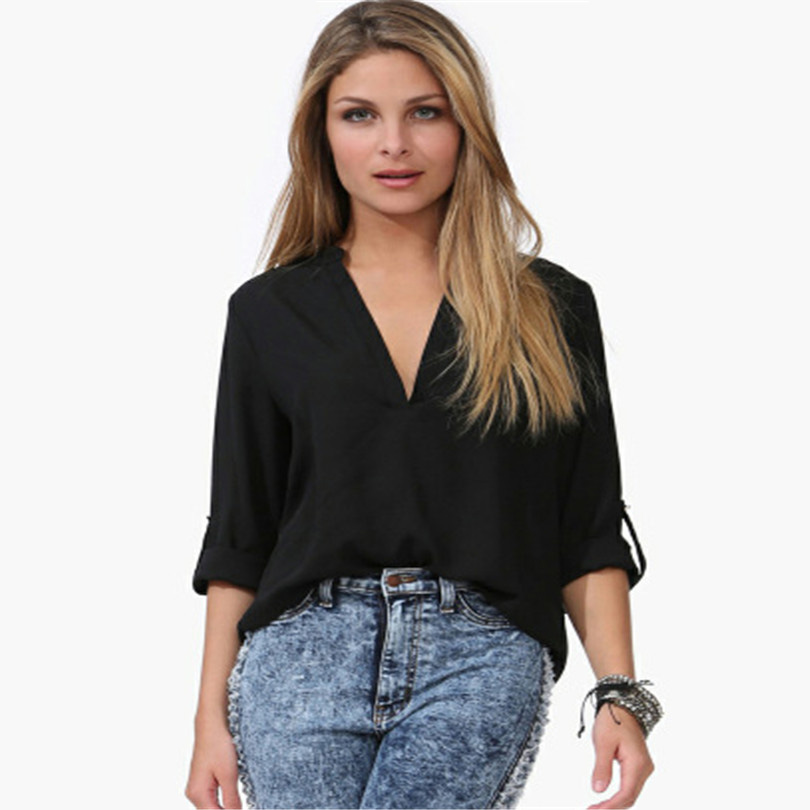 YSDNCHI Chiffon Blouse Summer Women Tops Blouses White Blusas Fashion Women Temperament Pure Color Casual Shirts