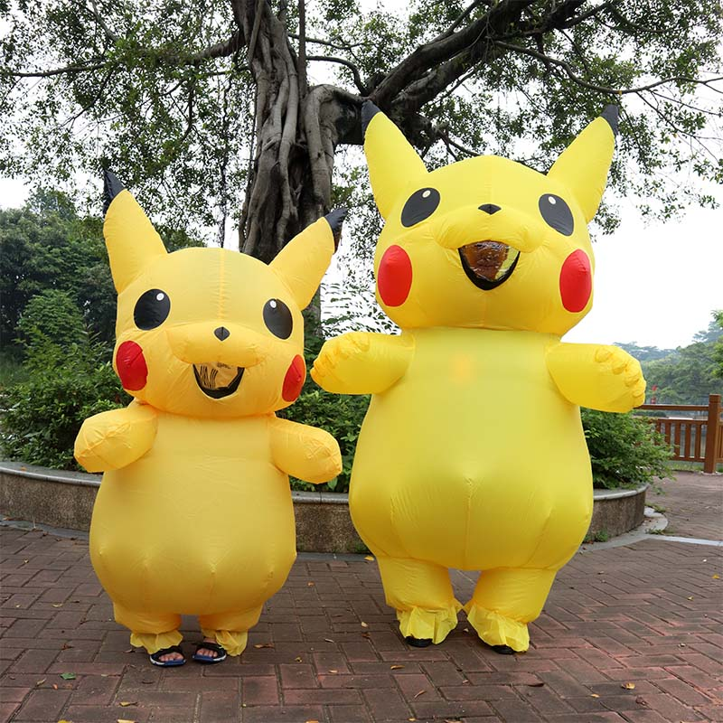 US Adult Mascot Pikachu Inflatable Costume Cosplay Halloween Funny Dress