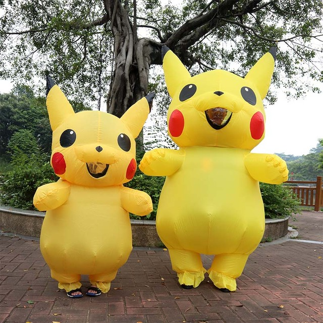 inflatable pikachu costumes cosplay carnival pokemon costumes halloween costumes for kids adults men women girls mascot
