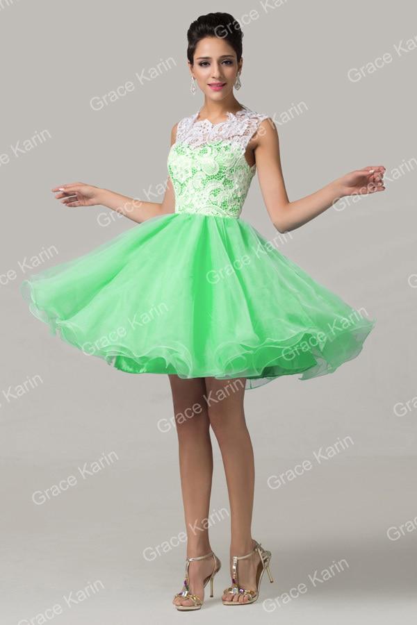 Grace Karin Sleeveless Lace Vestido Noite Short Prom Dresses