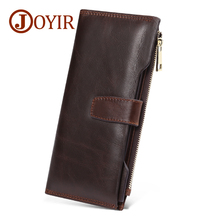 JOYIR Genuine Leather Men Wallets Long High Quality Card Holder Male Purse Zipper&Hasp Cell Phone Bags Clutch For