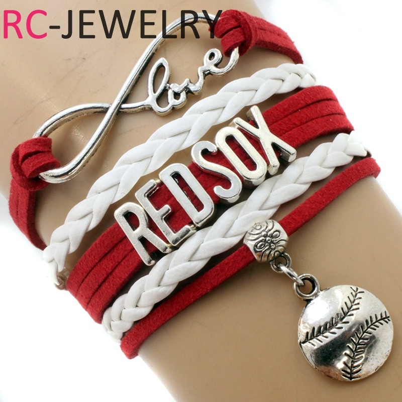 Drop Shipping Infinity Love Arizona Cardinals Team Bracelet -Red /Black Velvet Leather Braid Handmade Bird Charm Sports Gift