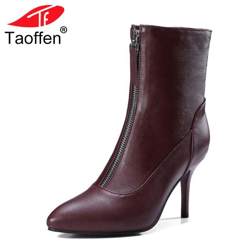 0526db4d69d887 Noir 33 47 De Mi Fleuri Femme Bottes Talon mollet Taoffen Mince rouge Femmes  Zipper Taille ...