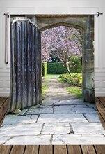 4x6ft Antigua puerta de impresión al aire libre tema fotografía de fondo de fondo Photo studio antecedentes impreso con jardín puerta D-1288