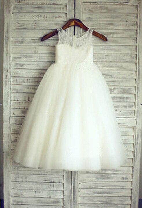 2018 nouvelles robes de fille de fleur blanc/ivoire vraie fête Pageant Communion robe petites filles enfants/enfants robe pour mariage