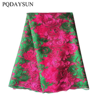 Green Swiss Lace Materials African Net Lace High Quality For Party Dress Fushia Pink 5 Yards