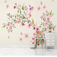 Custom 3D mural romantic watercolor floral hand-painted background wall decoration painting wallpaper photo