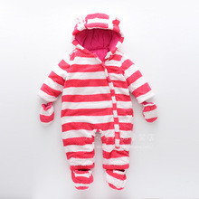 2017 Winter New Style Baby Boys And Girls Hooded Bodysuits Kids Striped One-oieces Outerwear Child Zipper Cotton-Padded Clothes