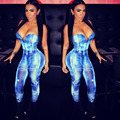 4397 Sexy women denim jumpsuit  jeans print deep v neck denim strech jeans overall bodysuit women  jumpsuit 2015