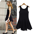 Black ladies casual dress 2016 Summer O neck sleeveless big ruffle tank dresses M L XL XXL XXXL 4XL 5XL plus size women clothing