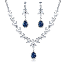 WEIMANJINGDIAN Brand Blue Teardrop and Marquise Cut Cubic Zirconia CZ Crystal Necklace and Earrings Bridal Wedding Jewelry Set