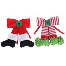 2 pz Di Natale Bella Classic Calze e Autoreggenti Impiccagioni Elf Piede  Calzini e Calzettoni Impiccagioni Albero di Natale Deco. 8c80e193625c