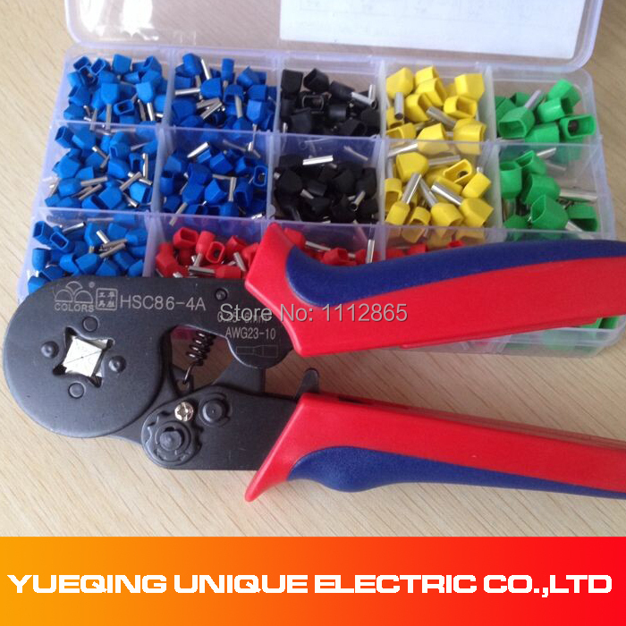 Free Shipping 520pcs Double Bootlace + Ferrule Crimper and Wire End Cord Terminals 0.25-6mm2 Terminal Crimping Tool Set / Kit pz0 5 16 0 5 16mm2 crimping tool bootlace ferrule crimper and 1k 12 awg en4012 bare bootlace wire ferrules