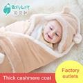 Cachemira bebé saco de dormir del bebé sabanitas se recubre sobre de invierno para los recién nacidos gruesas mantas suministros recién nacidos