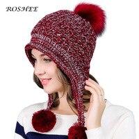 Earflaps Raccoon Hat Women Winter Pattern Hats Female Headgear Pompon Skullies Beanies Gorros Girls Knitted Wool