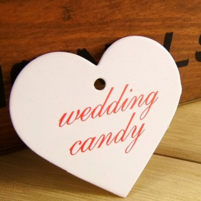 100 X White Heart Wedding Candy Paper Mark Tags Hang Label Favors