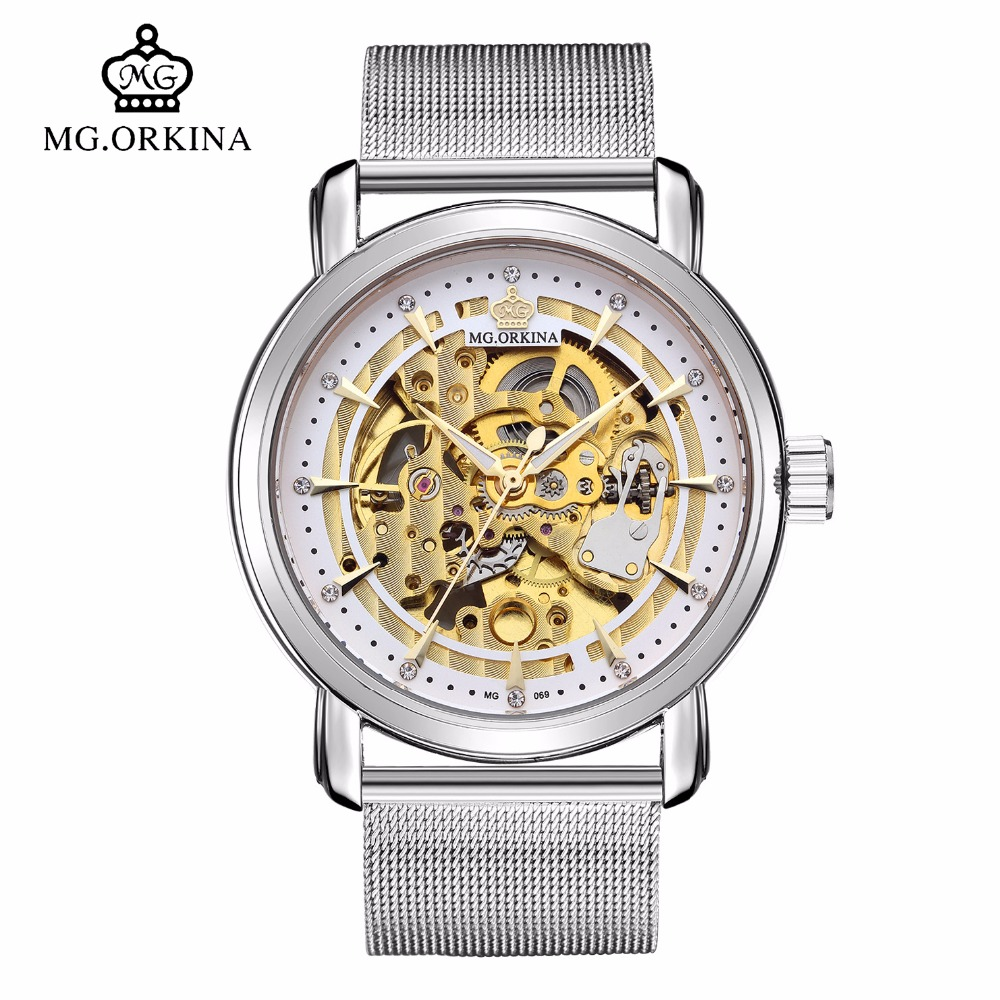 Fashion Skeleton Automatic Mechanical Silver Watch Men Mg.orkina Self Wind Transparent Wrist Watches montre automatique homme tevise business automatic mechanical watches men mechanical self wind silver stainless steel skeleton watch men montre 8377