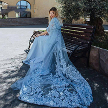 Chic 2017 Hooded Cap Sky Blue Evening Dresses Muslim kaftan Dubai Robe Two Pieces Hijab Prom Gowns With Appliques Formal Dress