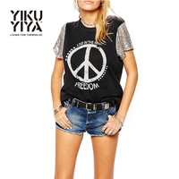 YIKUYIYA Punk Letter Print Sequined T Shirt Women O Neck Short Sleeve Black Casual Tank Tops
