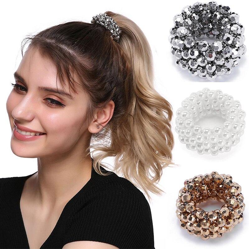 MISM Pearls Beads Hair Ties Elastic Hair Bands For Women Hair Rope Scrunchies Ponytail Holders Rubber Hair Accessories