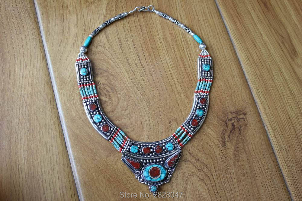 NK Nepal Handmade Copper Inlaid Stone Coral Pendant Necklace Ethnic Colorful Beaded