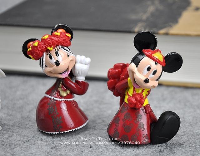 Disney Mickey Mouse Minnie Wedding 4pcs/set 6cm Action Figure