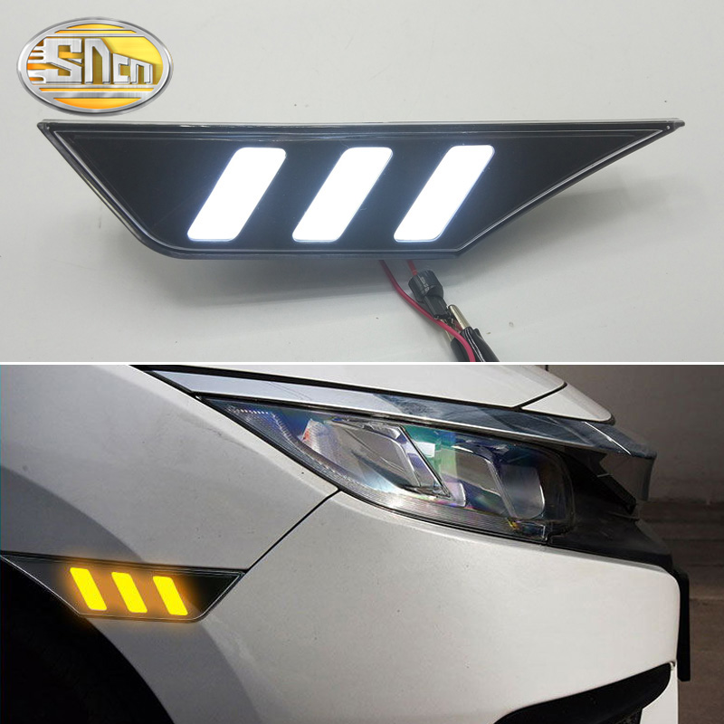For Hyundai Civic 10th 2016~2019 LED Side Fender Daytime Running Lights Daylight Fog Lamp Yellow Turning Signal Lamp