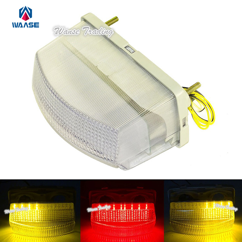 waase E-Marked Taillight Tail Brake Turn Signals Integrated Led Light Clear For 1991 1992 1993-1995 <font><b>YAMAHA</b></font> FZR1000 <font><b>FZR</b></font> <font><b>1000</b></font> Exup image