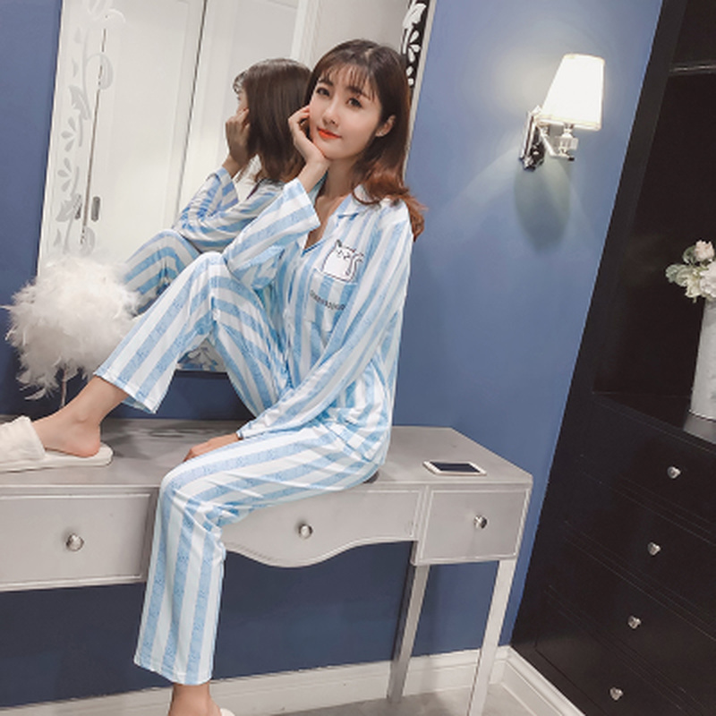 Fashion womens clothing 2018 autum and winter spring cute long sleeve pajamas suit female pyjamas sets womens sleep lounge