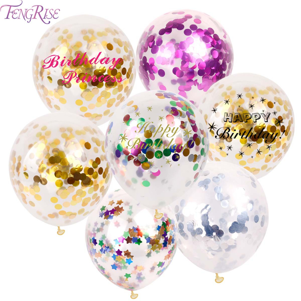 FENGRISE Rose Gold Confetti Balloons Latex Balloon Happy Birthday Baloon Wedding Decoration Ballon Event Party Supplies