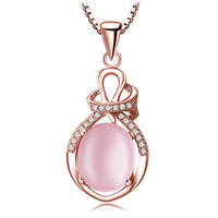 Monili delle donne semplice goccia d'acqua Naturali pietre semi-preziose rosa collana in oro Rosa ciondolo di cristallo stile folk regalo fidanzata